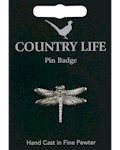Dragonfly Pin Badge - Pewter