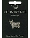 Highland Cow Pin Badge - Pewter