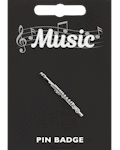 Flute Pin Badge - Pewter