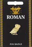 Large Roman Owl Pin Badge - Gold Plated